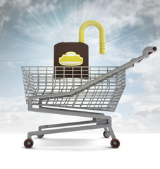 shoping cart with opened padlock and sky flare