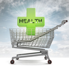 shoping cart with health cross and sky flare