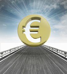 highway with euro coin and sky flare