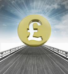 highway with pound british coin and sky flare