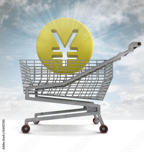 yuan or yen coin in shoping cart with sky flare