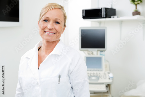 Smiling Gynecologist With Ultrasound Machine