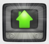 green house property in retro television and flare