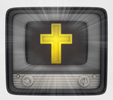 golden cross in retro television and flare