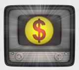 american dollar coin in retro television and flare
