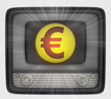 euro union coin in retro television and flare