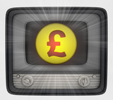 british pound coin in retro television and flare