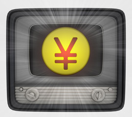 yuan or yen coin in retro television and flare