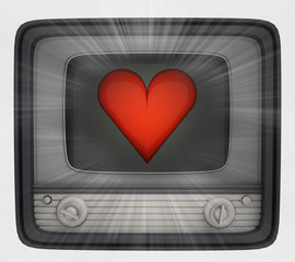 red heart in retro television and flare