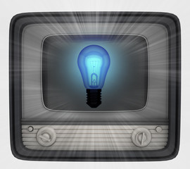 blue shiny bulb in retro television and flare