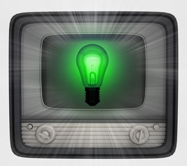 green shiny bulb in retro television and flare