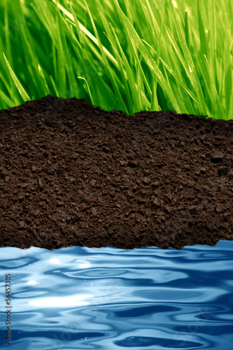 green grass, brown soil and blue water