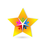 Teamwork people in star shape logo