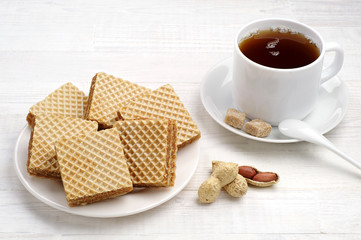 Waffle and cup of tea closeup