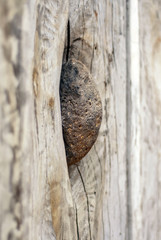 stone rock embedded into a wooden texture