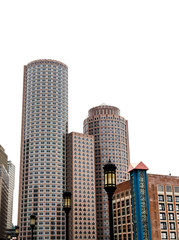 Boston Buildings on White Background