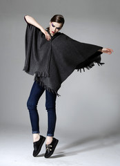 fashion model in fashion dress posing in studio