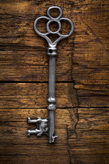 Old Skeleton Key on Wood