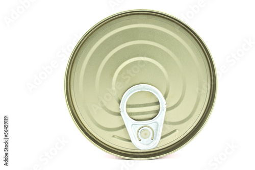 Food tin can lid isolated on white