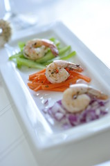 Shrimp Appetizer with Wine Glass Stem