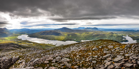 Panoramic view of Scottish highlands in Loch Assynt area