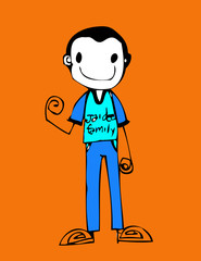 Cute cartoon people man and woman in Jaidee Family Style
