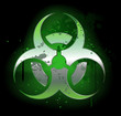 Biohazard  symbol on a dark background