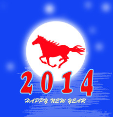The New Year of the Horse.Holiday vector card