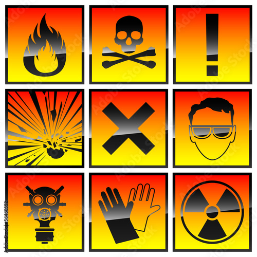Icons warning of danger