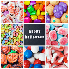 colorful collage of various candies and Swets halloween