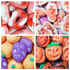 collage of various candies and Swets halloween
