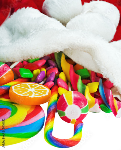 colorful candy in a Christmas sock