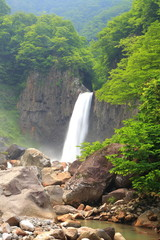 Waterfall in summer, Naena Falls, Niigata, Japan