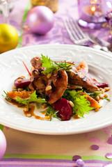 salad with quail