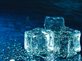 Iced water against abstract blue backgrounds for your design