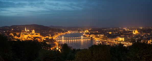 Budapest by night: Royal Palace of Buda and river Danube