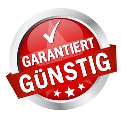 """Button mit Banner """" GARANTIERT GÜNSTIG """""""