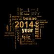 2014, nuage de mots doré fond noir