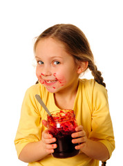 Girl eating homemade jam
