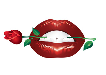 Lips and rose.