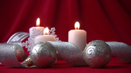 White candles and silver balls
