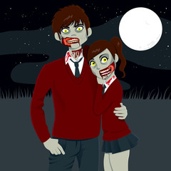 Zombie High School Couple