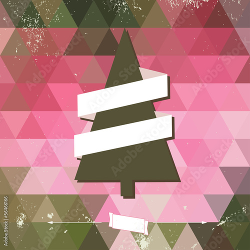 Hipster card with Christmas tree