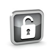metallic open padlock icon on a white background