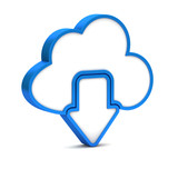 Blue download from cloud icon on a white background