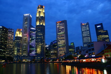 Singapore City Business Center, CBD, evening night