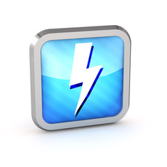 blue striped lightning icon on a white background