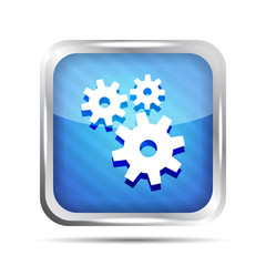 blue striped metallic icon with gear on a white background