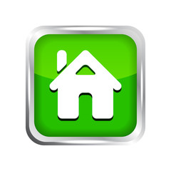 green home button icon on a white background