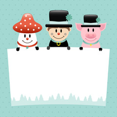 Fly Agaric, Chimney Sweep & Pig Retro
